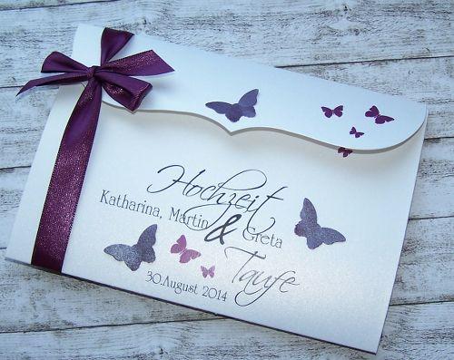 Einladung Hochzeit & Taufe Bogenkarte groß - brombeere - Stk.3,50 ...