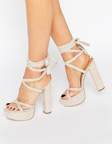 On SALE at 37% OFF! Truffle tie up block heel sandal by Truffle Collection. Heels by Truffle, Faux suede upper, Ankle tie-around fastening, Cross-over straps, Open toe, Block high heel, Wipe cl...