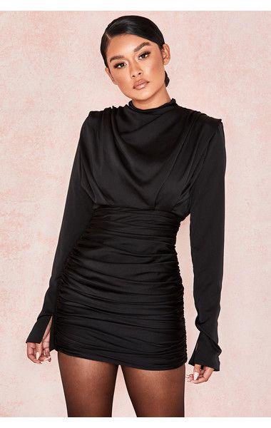 a8d7b56a5448 Clothing : Bodycon Dresses : 'Giorgiana' Black Satin Ruched Mini Dress