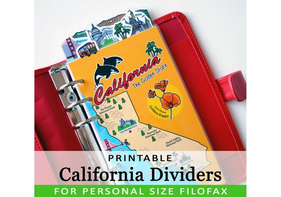 PRINTABLE Personal Size Cute Kawaii California DIY Dividers 5 Top Tabs for Filofax Organizer Planner Instant Download