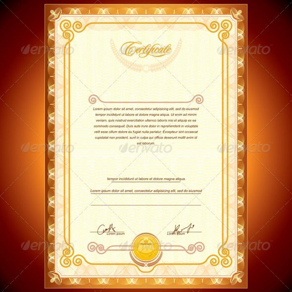 Golden Certificate   Golden Certificate Template  - vector illustration, only simply linear and radial gradients used  - no blends, gradient mesh used  - vector available CMYK colors for print  - pack include version AI, CDR , EPS , JPG  Keywords: background, achievement, vectors, vignette, voucher, coupon, copy, space, customize, blank, abstract, vintage, emblem, royal, victory, win, retro, certificate design, yellow