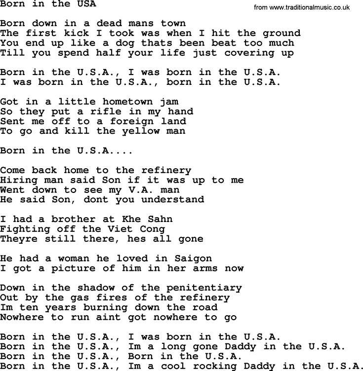 bruce springsteen lyrics Bruce Springsteen song Born In