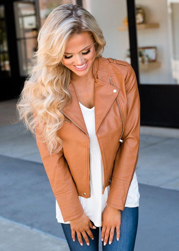 faux leather moto jacket cognac faux