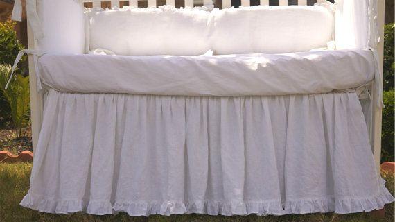 Custom Crib bedding set gathered skirt and by CustomLinensHandmade