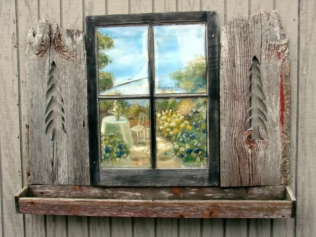 old barn wood ideas   Here's an old window with old barnwood idea...I fell in luv with this ...
