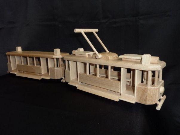 Holz Straßenbahn Spielzeug mit Anhänger Wagons