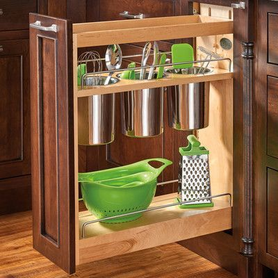 Features:  -Includes: 1 Wood organizer, 2 adjustable shelves with chrome rails, 3 removable stainless steel bins and mounting hardware.  -75 lbs Full extension blumotion slide system.  Color: -Natural