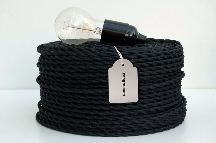 twisted textile cable - black | www.zangra.com