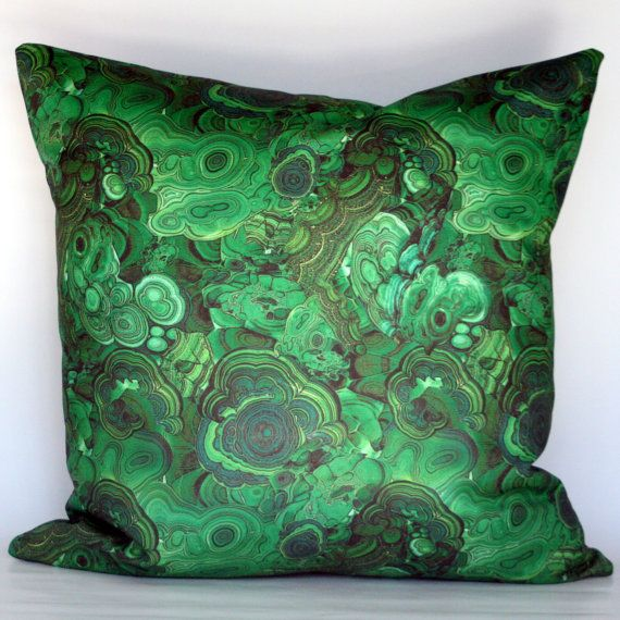 Malachite Decorative Pillow Cover  Emerald Green  by StuckOnHue