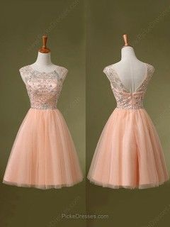A-line Scoop Neck Short/Mini Tulle Beading Prom dresses -CAD$142.29