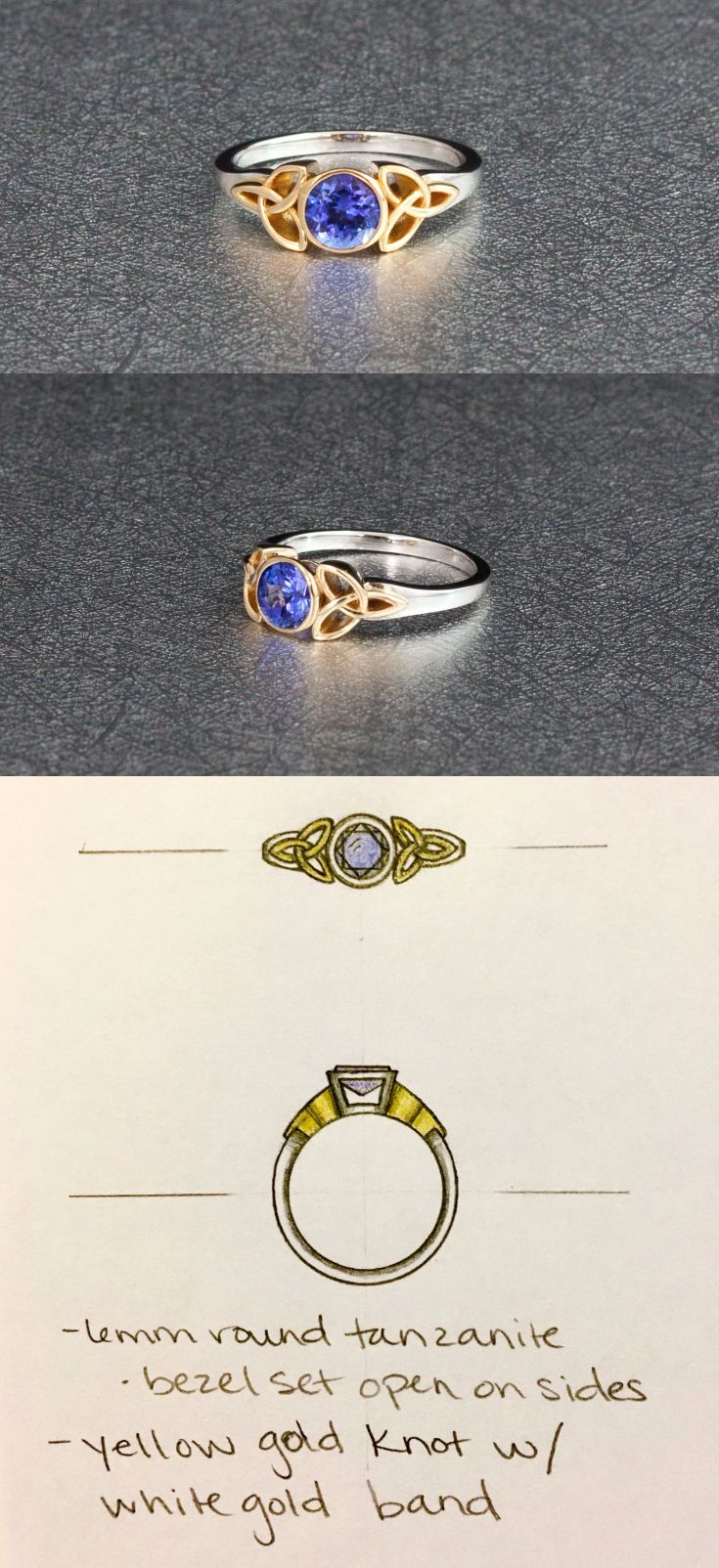 A perfect celtic-inspired engagement tanzanite engagement ring! The purple-blue of tanzanite pops perfectly against its yellow gold bezel surrounded by trinity knot shoulders. This center feature is set against a contrasting white gold shank for a brighter pop of color. A great case of the customer knowing exactly what elements she wanted (the tanzanite, mixed metals, trinity knot), so we just had to help her create the perfect design to express her vision!