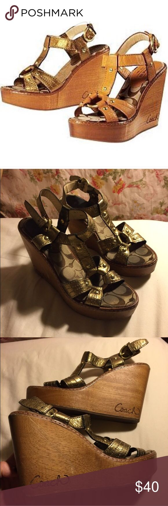Coach Wood Wedges Gorgeous golden wood wedges in the Brawn style from Coach. Every closet needs a pair of these! So easy to walk and stand in, very comfortable, and have a good solid weight to them without being heavy. Brass buckle and ornament. Fair preloved condition, some scratches on the wood and the C canvas print in the footbed has darkened, but tons of life left in these puppies! Coach Shoes Wedges