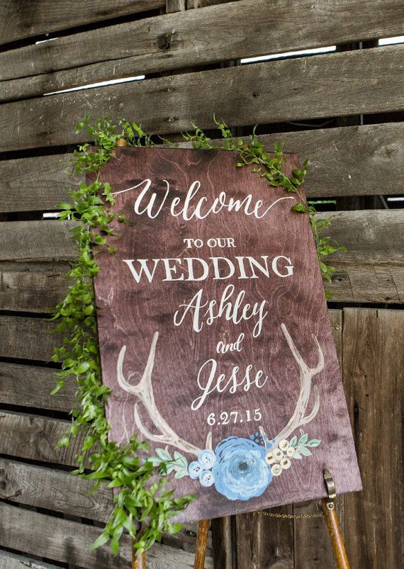 Welcome wedding sign with antlers by FromKellyWithLove on Etsy
