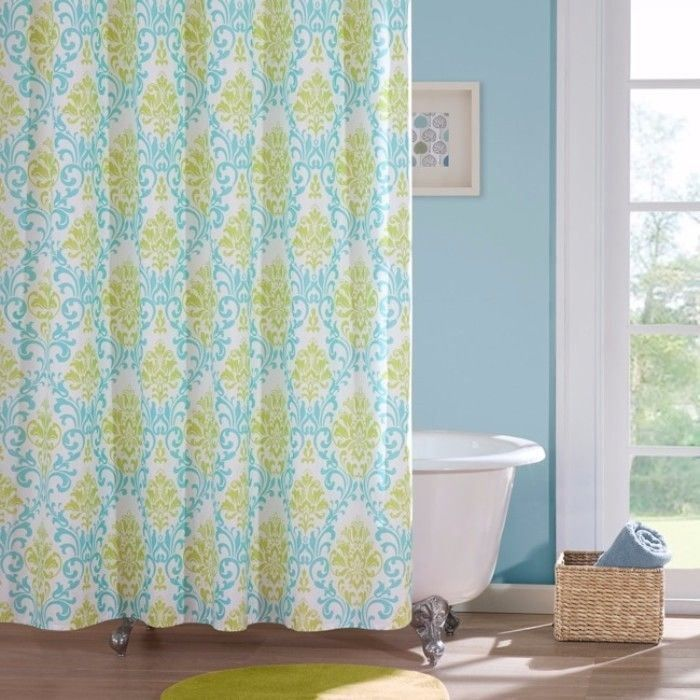 Damask Pattern Polyester Elegant Shower Curtain Stylish Bathroom Decor