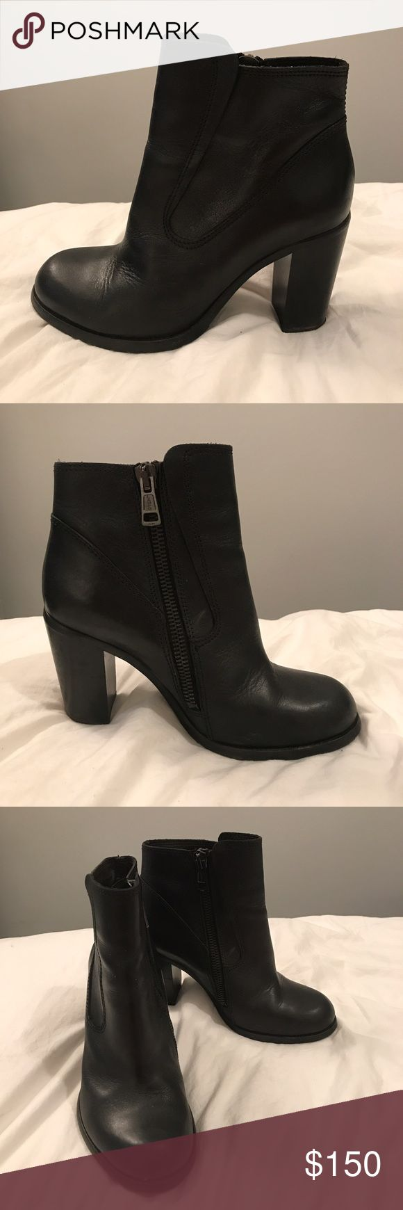ALLSAINTS Leather Chelsea Heeled Boots Mint-condition AllSaints boots with high quality leather, hardware, and craftsmanship. Super elegant but edgy, they'll never go out of style! Listed as a size 41 but they fit me (I'm a size 9.) All Saints Shoes Ankle Boots & Booties