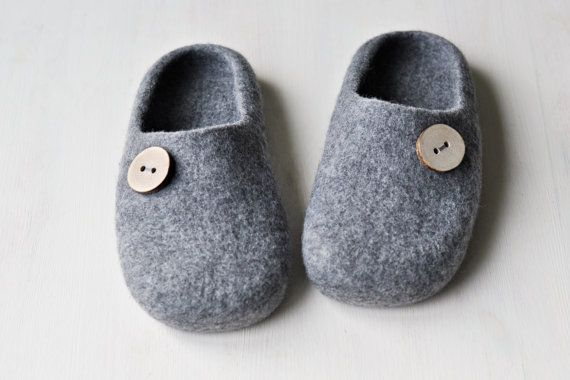 Felted slippers for men  Made to order   Gray by ShpilkaFelt, $70.00