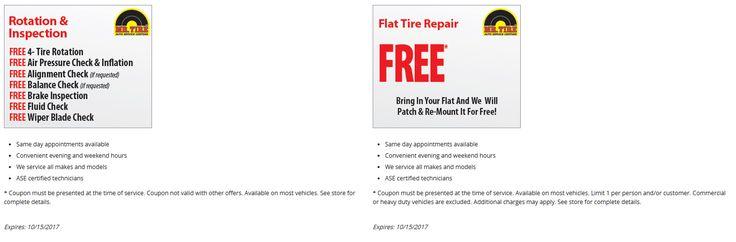Free flat tire repair & free rotation at Mr. Tire (10/15)