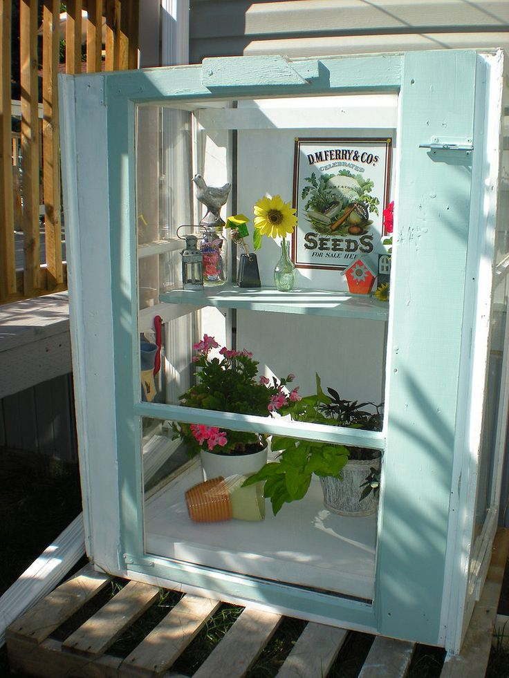 Mini Greenhouse from Old Storm Windows