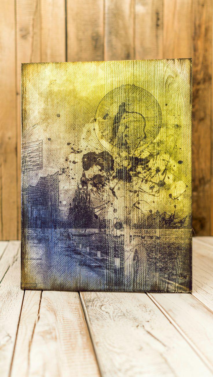 Hamburg Landungsbrücken. Aus der Symbiose von Kunst und Holz entstehen für alle Kunstliebhaber stilvolle und natürliche Holzbilder | Holzdruck Manufaktur Hamburg