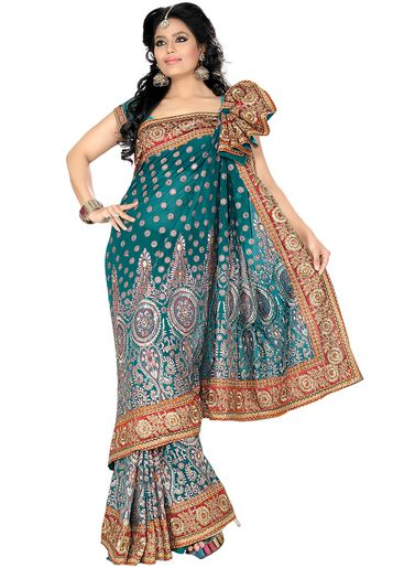 Embroidered Green Saree Sale at Best Price from Jabong.com