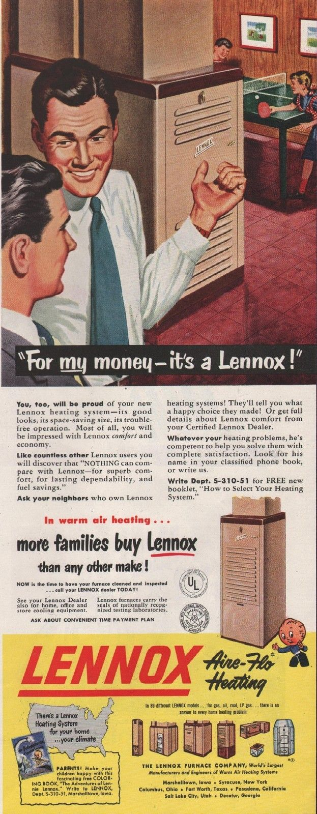 1951 Vintage Lennox Aire Flow Heating Form My Money Print Ad | eBay
