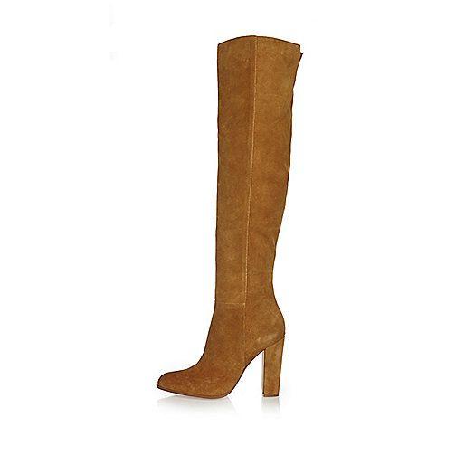 Bruine suède hoge laarzen met hakken - laarzen - schoenen / laarzen - dames