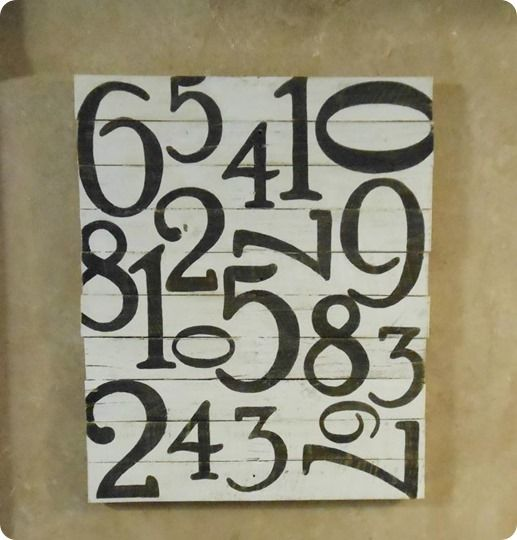 pallet number art/ pottery bsrn. Can do black with white numbers also