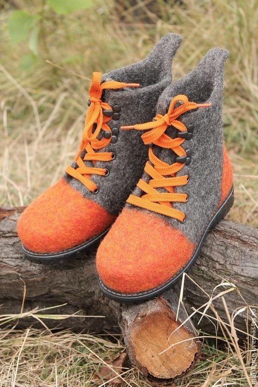"""Купить Ботинки валяные """"Позитив"""" - темно-серый, валенки, Валяные ботинки, валенки ручной валки"""