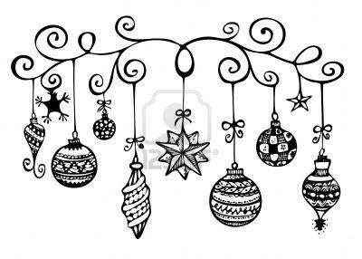 Kerst ornamenten schets in zwart-wit Stockfoto
