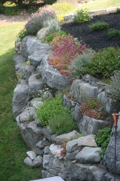 rock garden on retaining wall