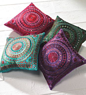Jaipur mirror work cushion covers - just like my Spainish ones!