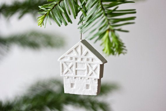 german halftimbered house ornament  pure white unglazed by POAST, €22.00