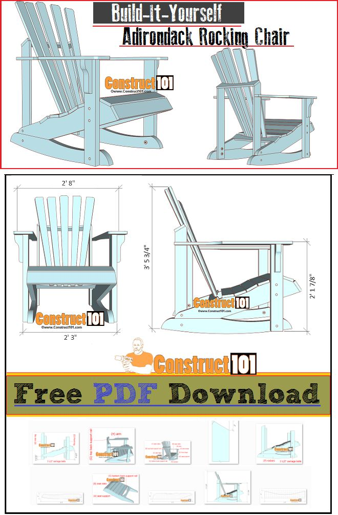 Adirondack rocking chair plans - free PDF download, cutting list, and shopping list.