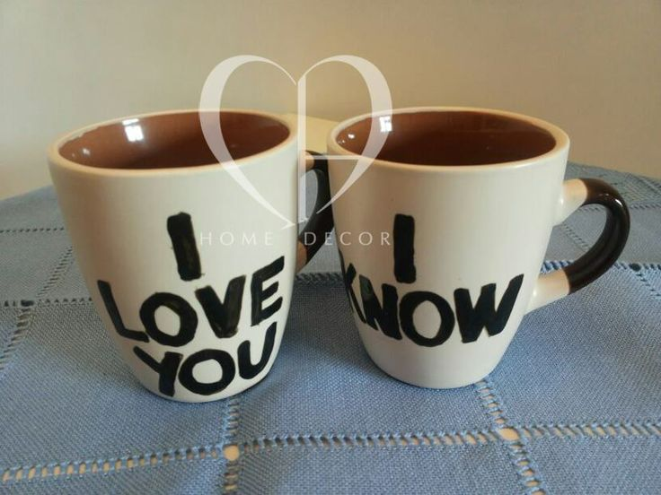 Couple of cups brown / beige I love you, I know