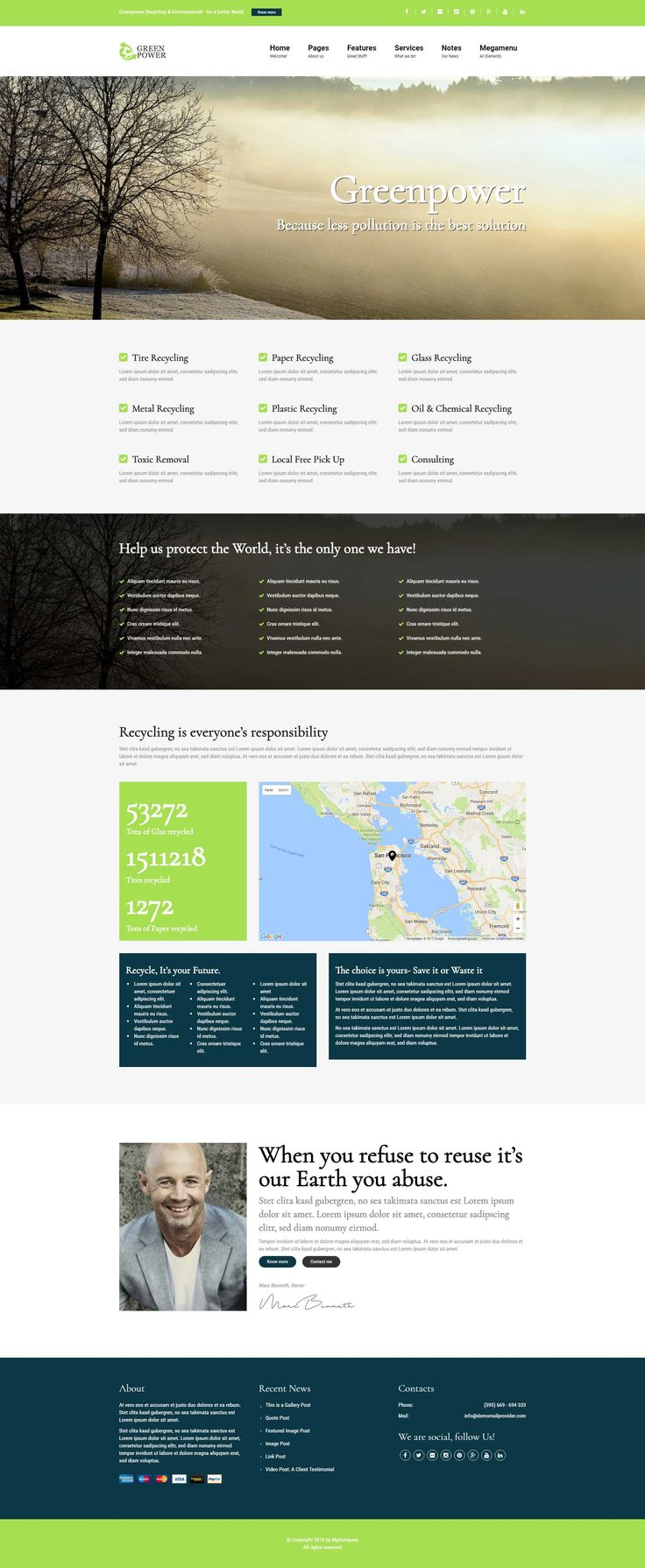 Greenpower - Recycling Company WordPress Theme