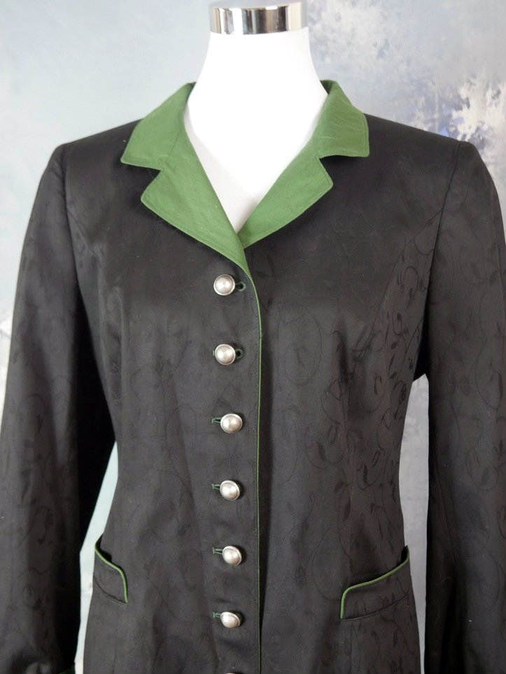 Austrian Vintage Traditional Jacket Women's, Black Green Alpine Blazer, Bavarian Black Jacket , Moser Jacket: Size 12/14 US, 16/18 UK by YouLookAmazing on Etsy