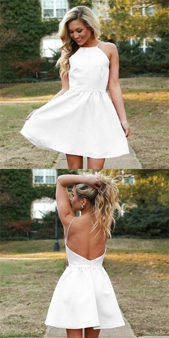 646acb72a7 Simple A Line Square Neck Backless Spaghetti Straps White Short Homecoming  Dresses Under 100