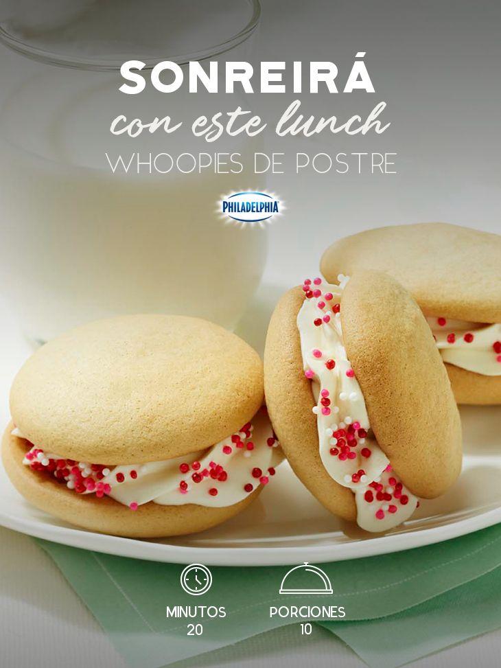 Tu peque será el más feliz a la hora del recreo con estos Whoopies de postre. #recetas #receta #quesophiladelphia #philadelphia #crema #quesocrema #queso #postre #whoopies #dulce #mantequilla #azúcar #vainilla