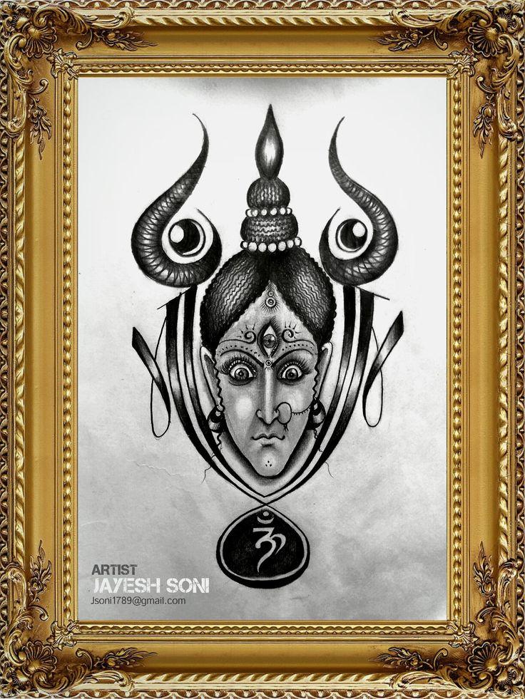 Title - Maa Durga Rudra Roop Medium - Pencil drawing  Size - A4 Art by - JAYESH  SONI Hope you all like it.  #maa #maatattoo #tattoodesign #pencil #drawing #art #instagood #durga #rudra #roop #om #trishul #lord #hindi #thirdeye #maadurga #artby #jayeshsonitattoo #bhopal #india #2017