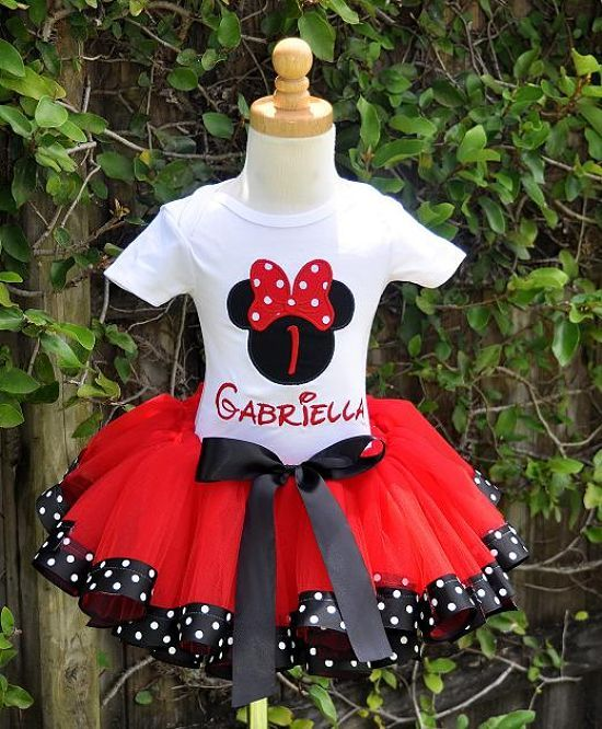 Girls Elegant Minnie Mouse Red Dot Bow Number Tutu