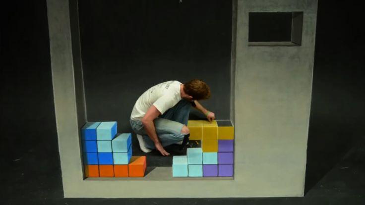 Tetris Stop Motion Chalk Art, via YouTube.
