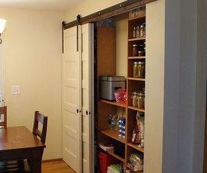 new pantry build with sliding barn style doors budgetupgrade, closet, doors, home decor, kitchen design
