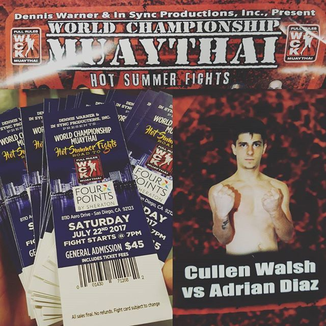 Tix are here!! Cullen @cullythenakmuay.ptc will be fighting July 22nd for @wckmuaythai at Four Points Sheraton Hotel in San Diego, CA. (Kearney Mesa) Show your PTC army pride and get your tickets asap. Available for sale at @ptcboxinggym  #muaythai #thaiboxing #irishboxer #cully #ptcfam #ptcnakmuay #sandiego #lajolla #birdrock #lajollalocals #sandiegoconnection #sdlocals - posted by Pacific Training Center  https://www.instagram.com/ptcboxinggym. See more post on La Jolla at…