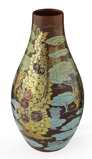 ZSOLNAY, PECS  BOTTLE VASE, CIRCA 1900  decorated in gilt and lustre glazes with flowering roses in a landscape, printed and painted factory marks, '2305/ 2/ 5/ 4/ 34',  impressed marks  23cm high 11/E1100L