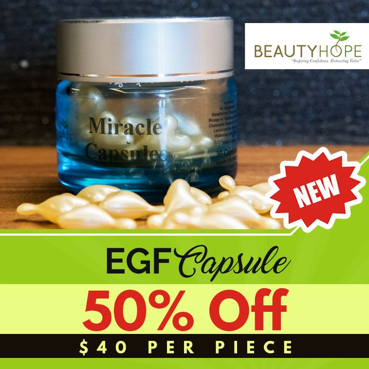 Why wait for miracles to happen when you can buy it? Get your EGF capsule at 50% OFF! Each capsule is available for $40, just imagine how much money you can save with this great deal! So do not hesitate and grab yours now! - Miracle Capsules is based on the Nobel Prize discovery of Epidermal Growth Factor, a human growth hormone that speeds up the skin's healing process. - cell renewal - remove dead skin cells, minimises blemishes so as to whiten the skin.