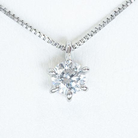 プラチナ ダイヤネックレス シンプルデザイン ダイヤ:0.26ct