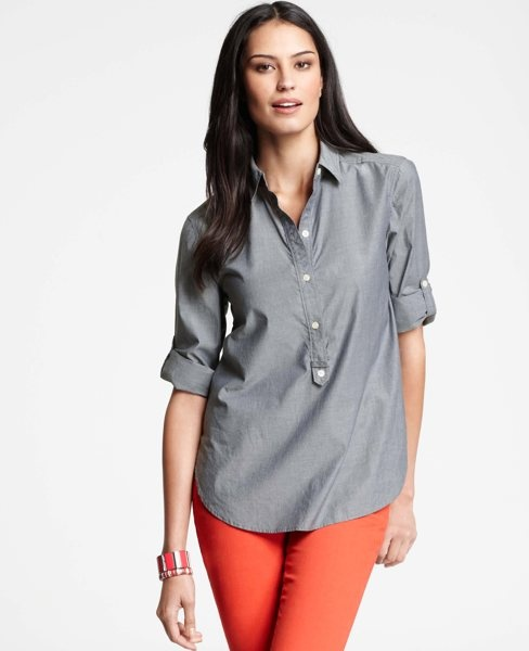 Chambray Roll Tab Tunic: Blouses, Tabs Tunics, Rolls Tabs, Chambray Shirts, Chambray Rolls, Woman Clothing, Timeless Style, Anne Taylors, Bright Pants