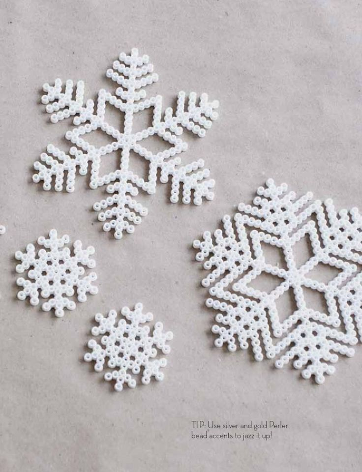 Melty (Hama) beads snow flake ornaments - add twine to hang!