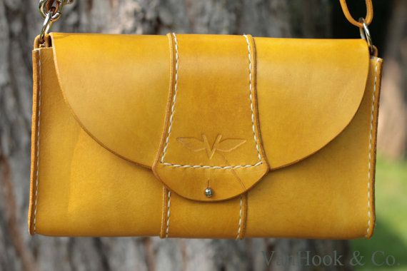 Hand Stitched Leather Crossbody Bag with by VanHookandCo on Etsy, $98.00