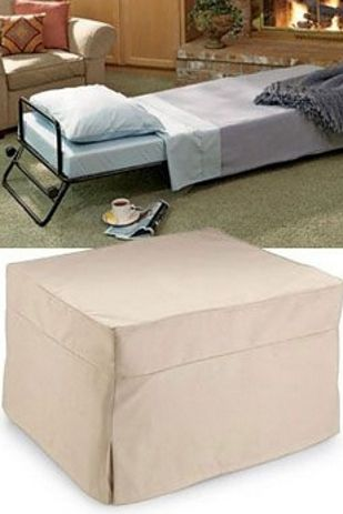 The folding ottoman bed (ottoman that turns into a bed!) | 33 Insanely Clever Things Your Small Apartment Needs